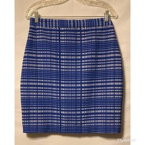 Banana Republic Blue White SQ Jacquard Skirt 10